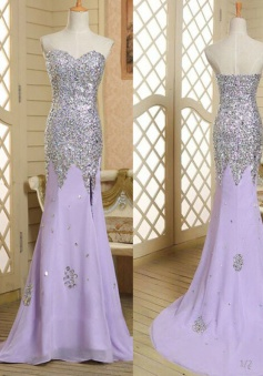 Fashion Mermaid Sweetheart Long Lavender Beading Prom/Evening Dress