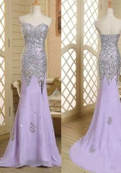 Fashion Mermaid Sweetheart Long Lavender Beading Prom/Evening Dress