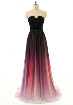 Modern A-line Strapless Long Chiffon with Belt Prom Dress