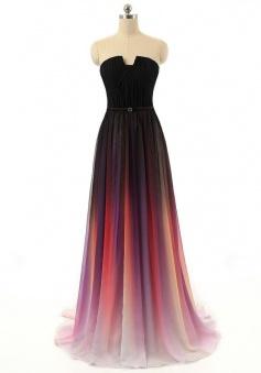 Modern A-line Strapless Long Chiffon with Belt Prom Dress