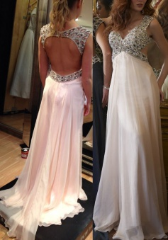 Elegant V-neck Court Train Empire Chiffon Open Back Pink Prom/Evening Dress