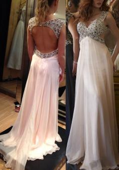 Elegant V-neck Court Train Empire Chiffon Open Back Pink Prom/Evening Dress