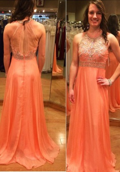 New Modern A-line Long Chiffon Empire Backless Coral Prom Dress With Beaded