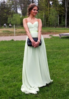 Floor Length Prom Dress - Sage Sweetheart Petite Ruched Chiffon