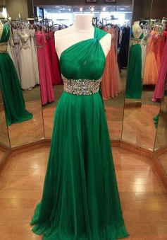 Princess One Shoulder Floor-Length Green Chiffon Prom Dress with Beading