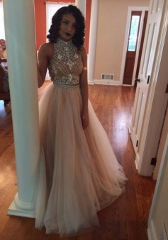 Hot-Selling High Neck Champagne Backless Tulle A-Line Two Piece Prom Dress with Rhinestone