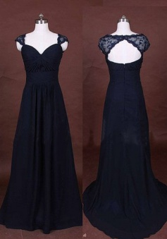 Elegant Long A-Line Chiffon Lace Cap Navy Blue Prom/Evening Dress
