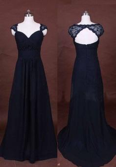 Elegant Long A-Line Chiffon Lace Cap Navy Blue Prom/Evening Dress
