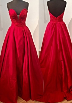 Decent  Sweetheart Satin Court Train Red Ball Gown Prom Dress