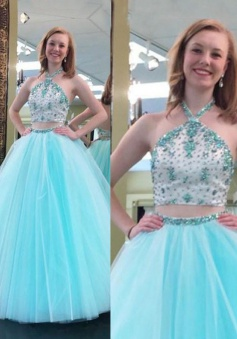 Fashion Tulle Prom Dress/Homecoming Dress - Sky Blue Two Piece Halter with Beading