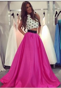 Two Piece Prom Dress - A-line Crew Polk Dots Long Dress