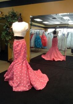 Two Piece Mermaid Prom Dress - White Pearl Short Sleeves Polk Dots