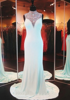 Beading Column Sleeveless Long Prom Dress-Chiffon Backless Evening Dress