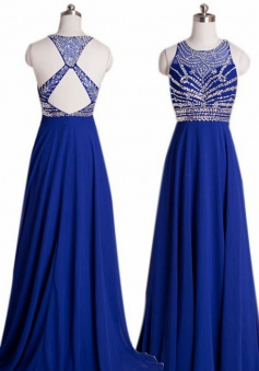 Crew Neck Sleeveless Beading Criss-cross Back Prom Dress-Floor-length Chiffon Royal Blue Evening Dress