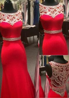 Scoop Neck Beading Illusion Back Mermaid Chiffon Prom Dress-Floor Length Sleeveless Evening Dress