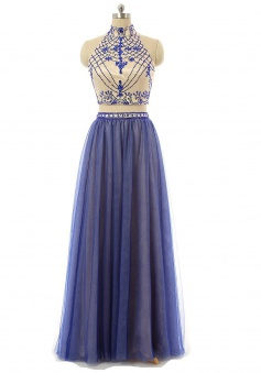 Two pieces A-line High Neck Tulle Backless Long Blue Prom Dress Evening Gowns