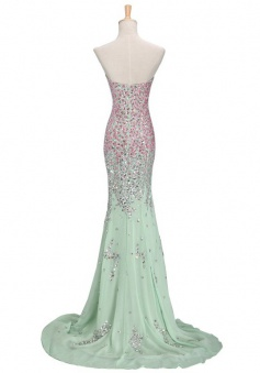 Mermaid Floor-length Sweetheart Slip Chiffon Prom Dress with Colorful Beading