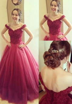 A-line Off shoulder Lace-up Long Prom Dress-Tulle Prom / Quinceanera Dress with Lace Appliques Top