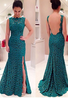 Gorgeous Mermaid Long Lace Backless Prom Dress With Side Slit