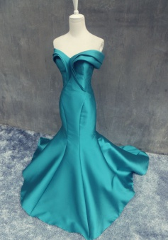 Mermaid Long Prom Dress - Off Shoulder Emerald Green Satin