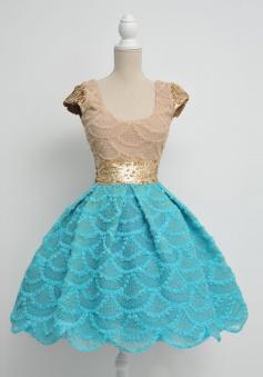 Vintage Princess Tulle Cap Sleeves Empire Cap Sleeves Blue Prom Dress