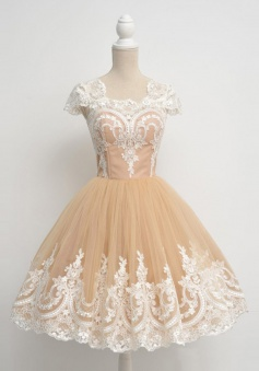 Vintage Ball Gown Cap Sleeves Champagne Prom homecoming Dress With Appliques