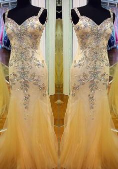 Honorable Prom Dress -Sheath V-Neck Spaghettis Straps with Rhinestone