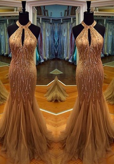 Sexy Prom Dress -Mermaid Halter Neck Sleeveless Beading with Keyhole