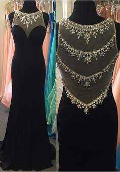 Mermaid Crew Sweep Train Side-Zipper Black Chiffon Prom Dress with Beading