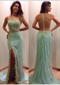 Elegant Long Mermaid See Through Back Slit Prom Dresses with Gold Sequins