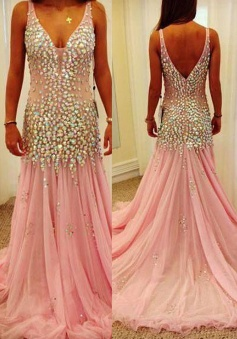 Luxurious Mermaid V-neck Long Pink Tulle Prom Dress with Beads