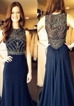 A-Line Prom Dress/Evening Dress - Navy Blue Crew Neck Beading
