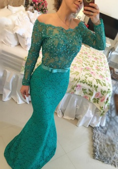 Mermaid Prom Dress/Evening Dress - Dark Green Bateau Neck Beading