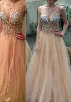 A-Line Prom Dress/Evening Dress - Champagne V-Neck Rhinestone