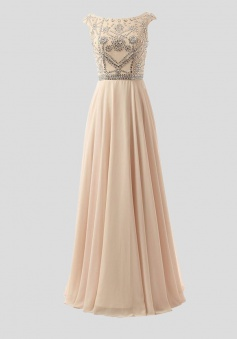 Elegant  A-Line Bateau Floor Length Pink Prom/Evening Dress With Beading