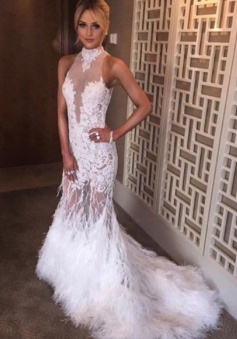 Mermaid High Neck Court Train Open Back White Tulle Prom Dress with Appliques Feather