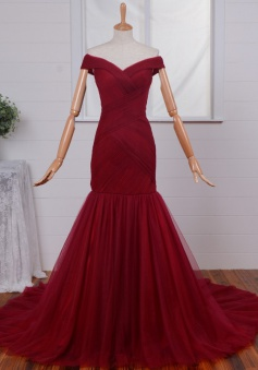 Off-shoulder Ruched Mermaid Prom dress-Dark Red Tulle Long Prom Dress
