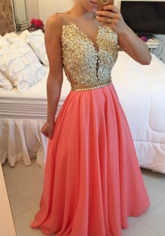 Gorgeous A-line Beaded Prom Dress-Appliques Chiffon Long Prom dress