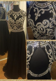 Hot-selling A-line Long Chiffon Beaded Prom dress-Black Open Back Crew Neck Prom Dress