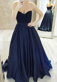 Sexy Sweetheart Beaded Long Prom Dress-Ball Gown Satin Navy Blue Prom dress