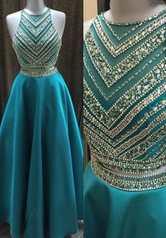 Two Pieces Beaded Crew Neck Prom Dress-Zipper-up Satin Long Prom Dress