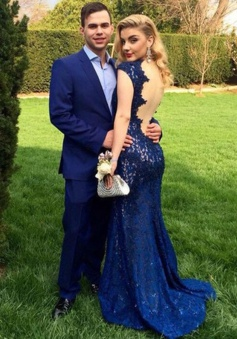 Mermaid Deep V-Neck Sweep Train Cap Sleeves Backless Royal Blue Lace Prom Dress