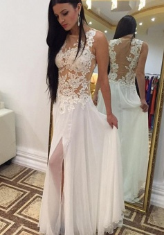 A-Line Jewel Floor-Length Side-Zipper Split-Side White Chiffon Prom Dress with Appliques