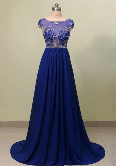 Elegant A-line Scoop Neck Beaded Long Chiffon Royal Blue Prom dress