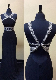 Sexy Mermaid Long Beaded Backless Prom dress-Navy Blue Sleeveless Prom dress