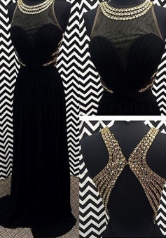 A-line Crew Neck Beaded Backless Long Prom dress-Black Sleeveless Chiffon Prom dress