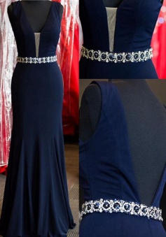 Sexy Mermaid Backless Long Prom dress-Beaded Navy Blue Chiffon Prom Dress