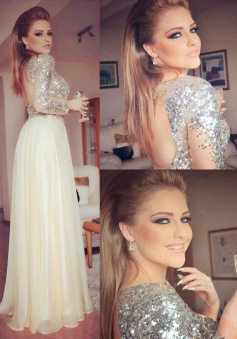Sparkle A-line Backless Long Chiffon Prom dress with Long Sleeves