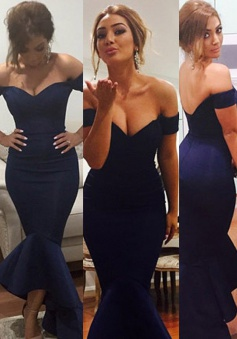 Mermaid Off-the-shoulder Long Prom Dress-Navy Blue Stretch Satin Prom Dress