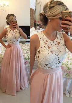 A-Line Crew Floor-Length Sleeveless Pink Chiffon Prom Dress with Beading Lace